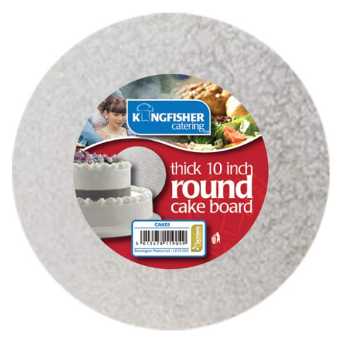 "Round 12mm Thick - Silver Foiled Cakeboard by Kingfisher Catering - 25cm 30cm 10"" 12"